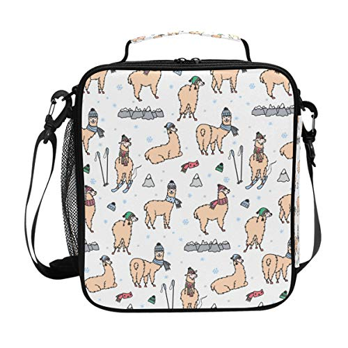 Bolsa de almuerzo Bolsa de asas de almuerzo con llama Smile aislada Caja de termo grande con correa para el hombro para adultos y niños