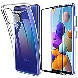 Lifeacc für Samsung Galaxy A21s Hülle und 3D Panzerglas Vollständige Abdeckung, Dünn Silikon Transparent Handyhülle für Samsung A21s Schutzhülle