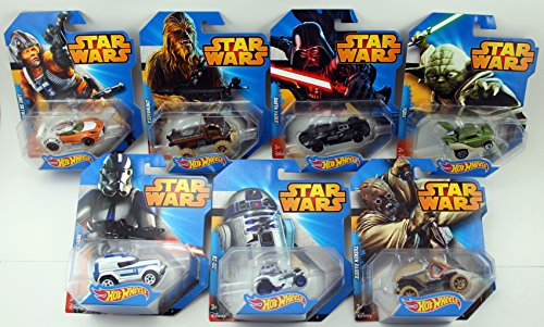 2014 Hot Wheels Star Wars Set of 7 - Darth Vader, Yoda, R2-D2, Chewbacca, Luke Skywalker, Tusken Raider & 501st Clone Trooper by Hot Wheels