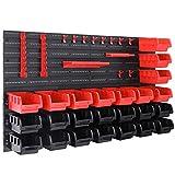 Deuba Estantería de bricolaje con cajas ganchos y portaherramientas color Rojo y Negro 45 piezas...