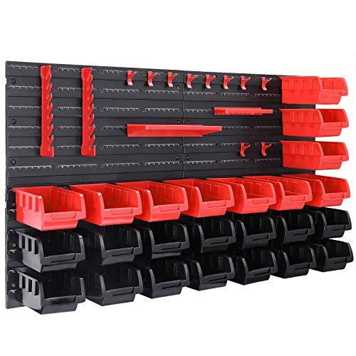 Deuba Wandregal mit Stapelboxen und Werkzeughalter 43 tlg Box Erweiterbar Werkstattregal Werkzeuglochwand