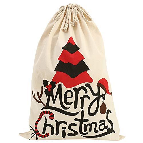 Jute Christmas Gift Bag, Vintage Christmas Gift Bag with Drawstring, Personalised Christmas Gift Wrapping Bag, Large Size Christmas Gift Decorations (02)