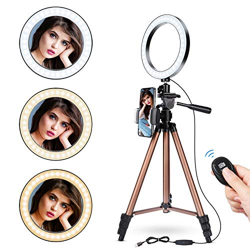 8' Selfie Ring Light with 50' Adjustable Travel Tripod &Flexible Phone Holder, UFula LED Dimmable Ring Light for Live Stream/Makeup/YouTube/Video/Photography, Compatible with iPhone and Android.
