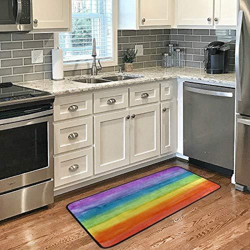 Felpudo grande con diseño abstracto a rayas de colores arcoíris para interiores, antideslizante, absorbente, para exteriores, lavable, 99 cm x 51 cm