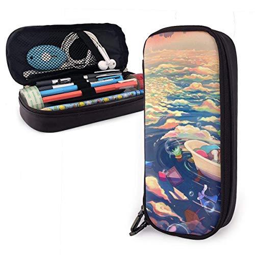 huatongxin Bañera flotante para hombres y mujeres disponible Estuche para lápices portátil de gran capacidad Moda Micro fibra de cuero de PU Bolsa de papelería para estudiantes y portalápices con c