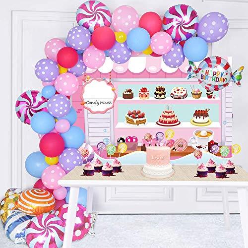 Confezione da 128 decorazioni per feste di caramelle – fondale di caramelle lecca-lecca palloncino topper per feste in lattice palloncino ghirlanda arco per Natale Candyland Compleanno Decor