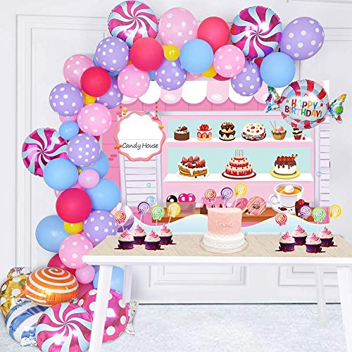 128 Pack Candy Party Decorations Set - Candy Backdrop Lollipop Balloon Cupcake Topper Party Latex Balloon Garland Arch for Christmas Candyland Birthday Decor Baby Shower Supplies