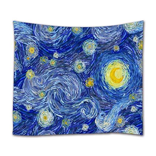 A.Monamour Wandteppiche Leuchtender Mond Und Sternenhimmel Ölgemälde Druck Im Van-Gogh-Stil Abstrakte Hintergr& Textil Stoff Wandbehang Tapisserie Gardinen Tischdecke Tagesdecke Strandtuch 130x153cm