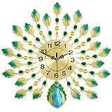 WANNA.ME Orologio da Parete Pavone, Iron Art Mute Orologi creativi Orologio Decorativo Soggiorno Decorazione della Parete di casa (Stile: B)