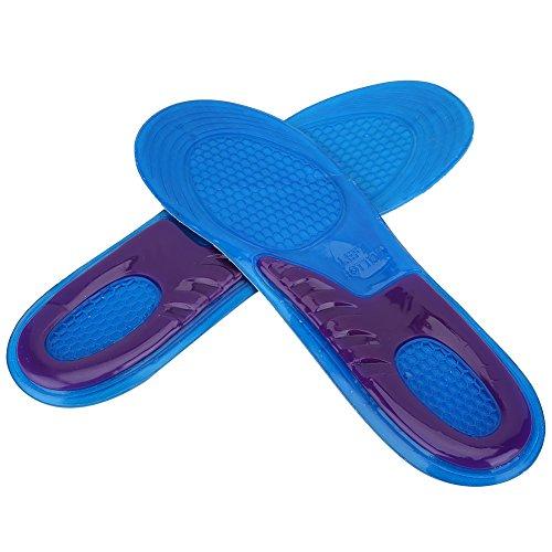 Alomejor Plantillas deportivas de gel para mujeres y hombres, almohadillas ortopédicas para masaje amortiguación, desodorante militar, suave, cómodo, plantillas de silicona antigolpes (L (44-50))