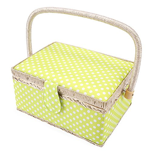 "SAXTX Classic Polka Dot Medium Sewing Basket with Tray - Include 31 Pcs Sewing Kit Accessories | Green Wooden Storage Organizer Sewing Boxes for Girls | 9.6"" x 7"" x 5.3"""