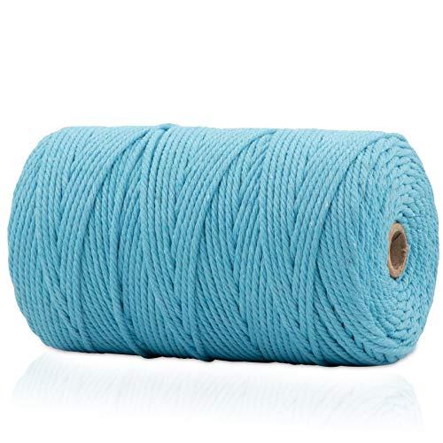 VOYAL - Filo di cotone naturale macramè, 3 mm x 200 m, cordoncino di cotone, acchiappasogni fai da te, arazzo da parete (azzurro)