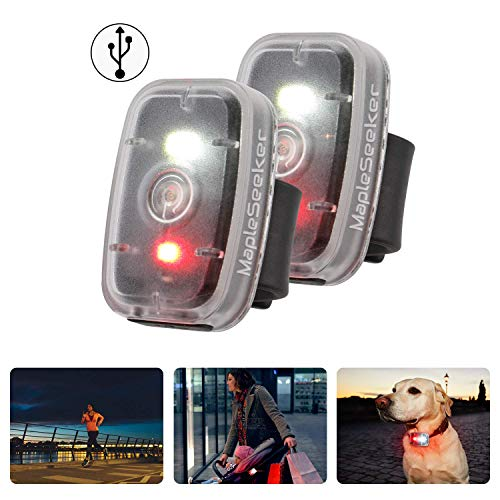 MapleSeeker LED Safety Light USB Rechargeable Running Light for Runners, Clip On Strobe Light, High Visibility for Cycling, Hiking, Dog Collar and Kids, Bike Tail Light with 5 Lighting Modes (2-Pack)