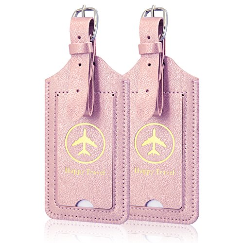 2-Piece Leather Case Luggage Bag Tags