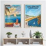 JLFDHR Carteles De Viaje Vintage De Martinica Valencia, Arte De Pared Impreso En Lienzo para Decoración De Sala De Estar-50X70Cmx2 Sin Marco