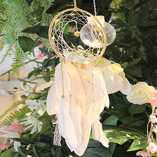 LYWL Carillón de Viento del colector del sueño luz de la Noche, con Bolas de Flores Y para Colgar de la Pared decoración del hogar del Ornamento del Arte, Estar colgado Festival de Navidad,B