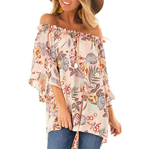 showsing-vrouwen kleding Womens Off Shoulder Zomer T-Shirt - Dames Driekwart mouw Bloemen Print Casual Tuniek Blouse - Moederdag