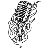 Wandtattoo Flammen Mikrofon L - 51cm x 75cm - Duvar Tattoo - 23 mögliche Farben