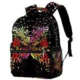 Mochilas escolares de 40,64 cm, bolsa de viaje básica para portátil, diseño de mariposas con lunares de color