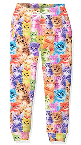 Teens Cat Animal Graphics Sweatpants 14-16 Years Old Girls Blue Pink Meow Print Track Pants for Young Children Baggy Jogger Active Wear Boys Casual Tie Dye Legging