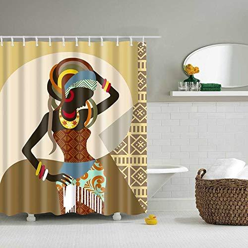 XCBN Personalità Semplice Ragazza Modello Tenda da doccia Bagno impermeabile Tenda da doccia Bagno Tenda di separazione asciutta e bagnata A5 90x180cm