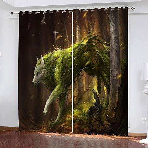 KJQTEN Cortinas Opacas de Ojetes 160x200 cm (ANxAL) 2 Paneles 3D Lobo...