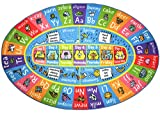 KC Cubs Playtime Collection ABC Alphabet, Seasons, Months and Days of The Week Educational Learning & Game Oval Area Rug Carpet for Kids and Children Bedrooms and Playroom