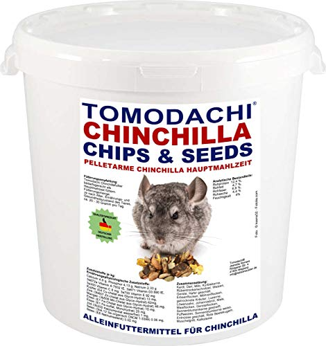 Chinchilla Food, Small Pellet, Complete Food for Chinchillas, Delicious, Animal, chinchillas, Tomodachi Chinchilla Food Mix Chips Chinchilla Food 2kg Tub