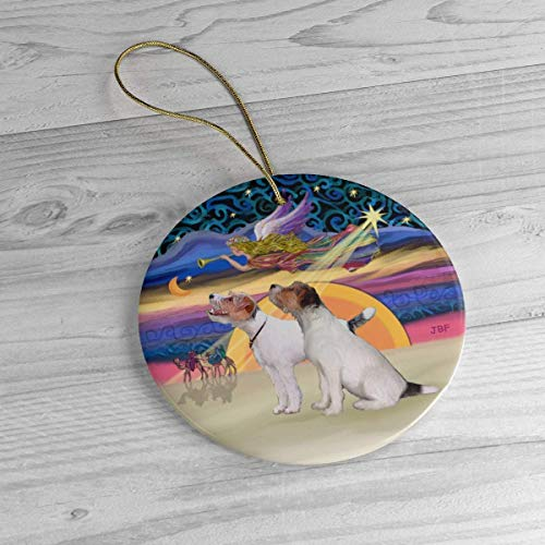 Lplpol Personalized Two Jack Russell Terriers in Christmas Angel Heirloom Ornament Ceramic Porcelain Xmas Tree Hanging Keepsake Pedemant, Ideals, BST1445
