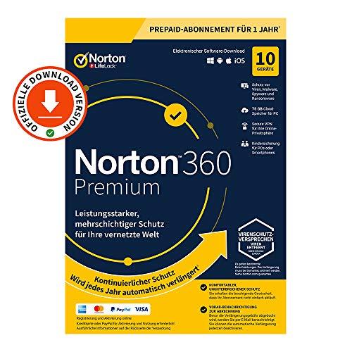 Norton 360 Premium 2021 | 10 Geräte | 1-Jahres-Abonnement mit Automatischer Verlängerung | Secure VPN und Passwort-Manager | PC/Mac/Android/iOS | Aktivierungscode per Email