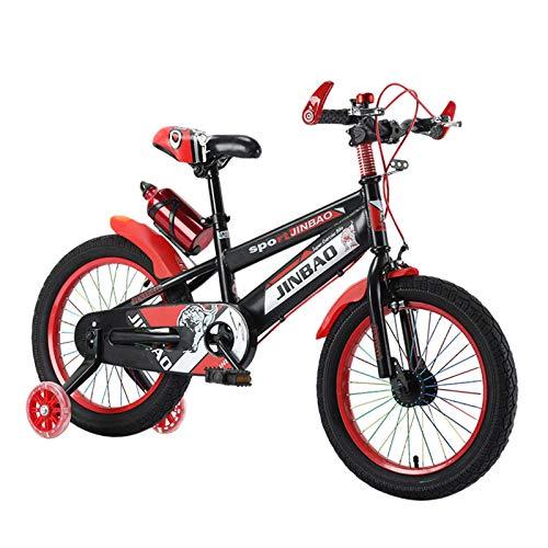 K-Park Bicicleta para niños de 18 pulgadas con ruedas de entrenamiento, antideslizante agarre equilibrio bicicleta para niños y niñas con estabilizadores, botella de agua y soporte diplomático
