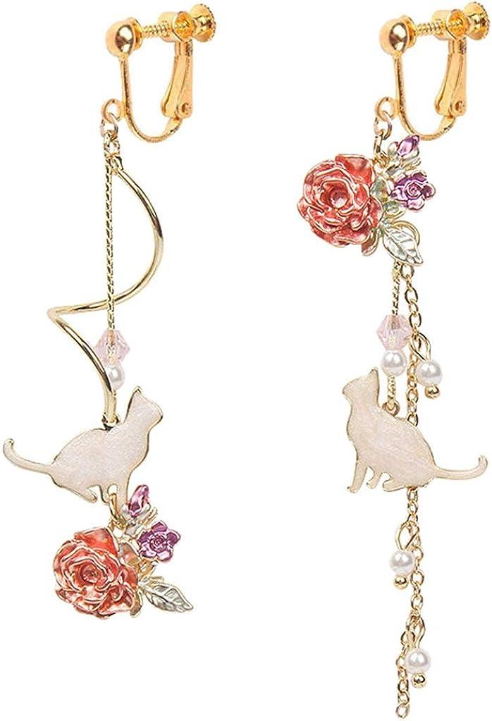 Women Girl Jewelry Cat Clip on Dangle Earrings Red Enamel Rose Flower Long Chain Tassel Drop