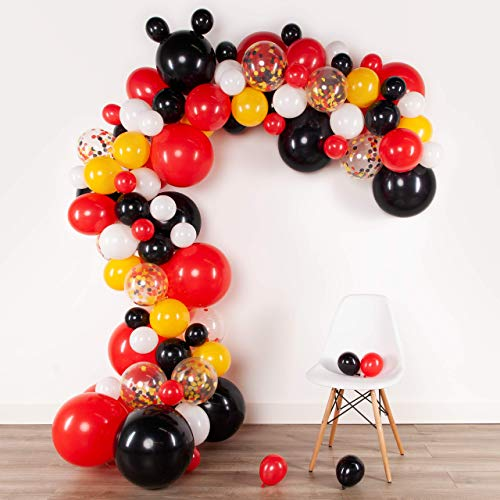 Lunar Bliss 16 ft Balloon Arch & Garland Kit | 100 Balloons, Black, Red, Confetti | Birthday Party Decorations, Baby Shower, Engagement, Bridal Shower, Wedding, Anniversary, (Magical Mouse)