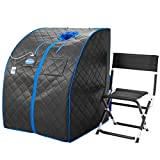 Durasage Personal Ultra Low Emf Portable Infrared Sauna Spa for Weight Loss, Detox, Relaxation at Home, 30 Minute Timer, with Handheld Remote Control, Heated Footpad and Chair (Black)