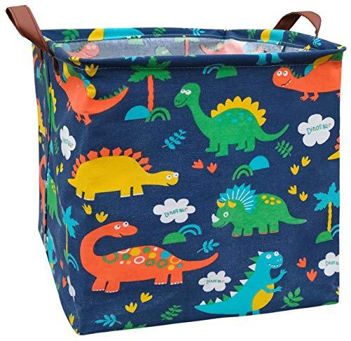 ASKETAM Square Canvas Collapsible Fabric Baby Toy Box Storage Bin Bedroom Decor Closet Kids Laundry Baskets Toy Organizer,Shelf Basket Nursery Storage,Gift Baskets (Color Dinosaur)