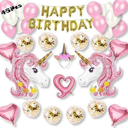 Unicornio Decoraciones Cumpleaños de Fiesta, 45 Piezas Cumpleaños Supplies con 2 Enormes 3D Unicornio Globos, Globos de Látex Macaron, Diadema de Unicornio, Cumpleaños Estandarte para Niñas Niños