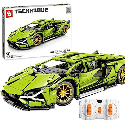 TRUU Coche deportivo teledirigido Baustein, 1254 bloques de construcción 1:14 teledirigido coche de carreras piezas pequeñas DIY kit de construcción con motor, compable con Lego Technic