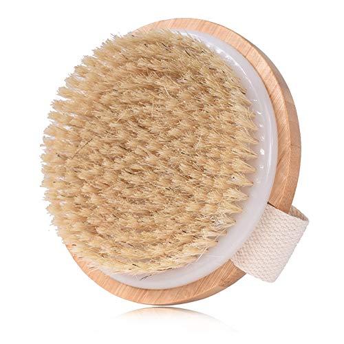 Newhashiqi Brosse de Bain Ronde en Bambou pour Peaux sèches, Wood