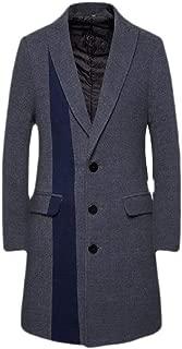 Men's Business Woolen Pea Coat Double Breasted Winter Wool Trench Down Jacket