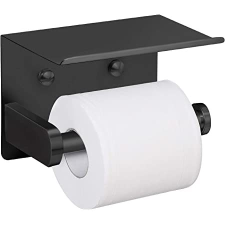 Passionier Toilet Paper Roll Holder Wall Mount Bathroom Toilet Tissue Holder With Mobile Phone Storage Shelf Black Amazon Com