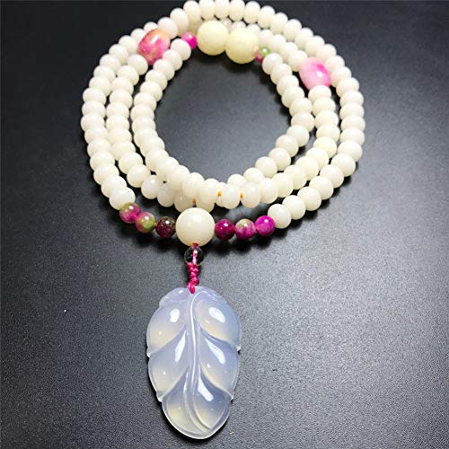 IFVCS Bodhi Armbandwomen'S Chalcedony Leaf Pendant Necklace White Bodhi Root Peach Blossom Stone 108 Beads Bracelet Sweater Chain