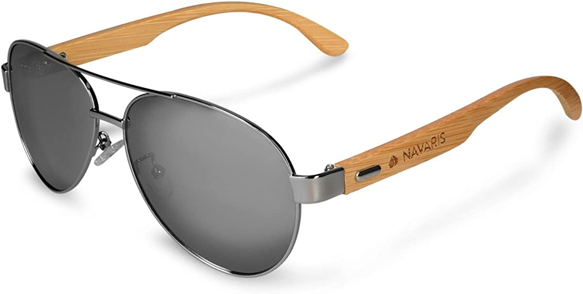 Navaris Gafas de sol polarizadas de madera - Lentes con protección UV400 - gafas de bambú - Diseño unisex para hombre y mujer - Lentes azul