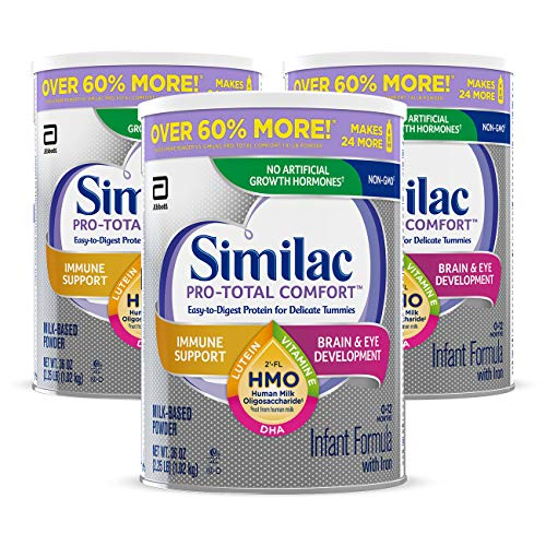 Similac Pro-Total Comfort Non-GMO with 2'-FL HMO Infant Formula with Iron, Easy-to-Digest, Gentle Formula, for Immune Support, Baby Formula 36 Oz, Pack of 3