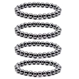 Byson 4 Pcs/Set Black Hematite 8mm Ball Bead Magnetic Therapy Bracelet Magnet Stone Bracelet Relieve Arthritis Headache...