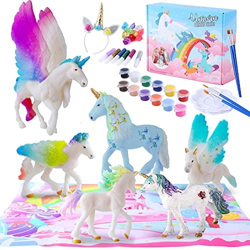 Herefun 58pcs DIY Unicorno Figure Kit, 3D Unicorno Figure Giochi Pittura Kit Pennelli, Pittura, Gemme Adesive, Unicorno Fai da Te Accessorio, Unicorno Creativi Regalo per Bambini 4 5 6 7 8 Anni