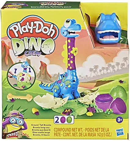 Play Doh Dino Crew Growin Tall Bronto Toy Dinosaur for Kids 3 Years and Up with 2 Eggs 2 5 Ounces product image