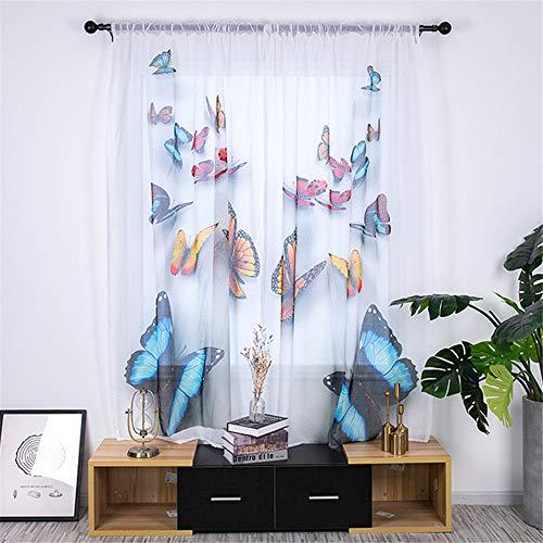 GLITZFAS 2 stück Transparent Voile Vorhang Gardinenschal Gardine Print Blumen Sheer Vorhang für Wohnzimmer Schlafzimmer Schlaufenschal 135x200cm (Schmetterling)