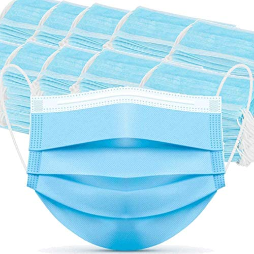 3PLY 2000Pcs Disposable Face Masks 3 Ply Protective Safety Mask for Dust, Air Pollution with Elastic Earloop (Blue) (2000)