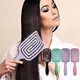 Tafunshy New Massage Comb, Hairbrush Without Ziepen, Vented Unraveling Hairbrush, Unique Detangler Brush, Anti-Knotting Hairbrush, Flexible Soft Needle Bristles, Unraveling Wet Dry Hair 1 PC (Purple)