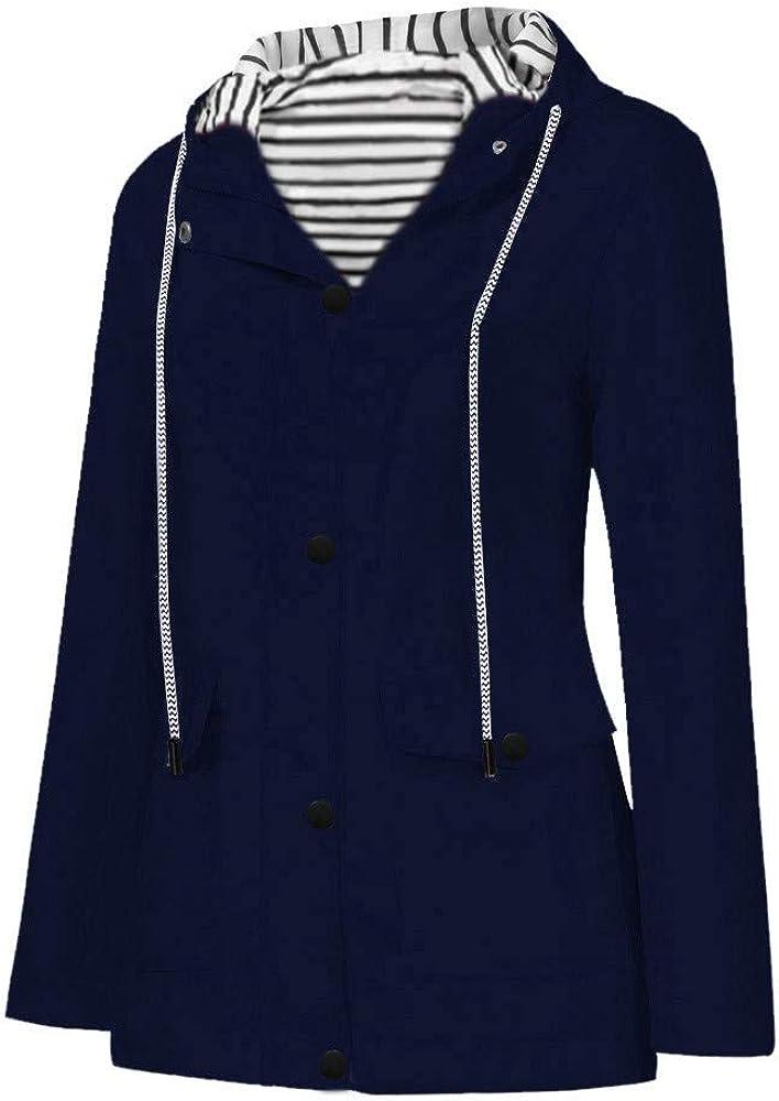 Xinantime Windproof Jacket Women Lightweight Hiking Hooded Long Sleeve Plain Raincoat Button Down Full Zipper Casual Coat